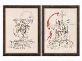Salvador Dalí, From: Le Songes Drolatiques, 2 Plates,