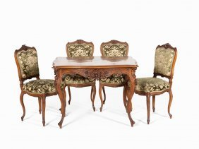 Set Of 4 Chairs & Matching Table In Rococo Style,