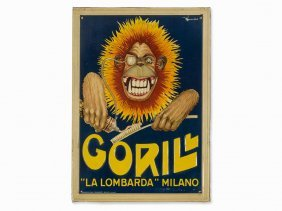 Lithographed Advertising Sign, Gorilla With Toothpaste,