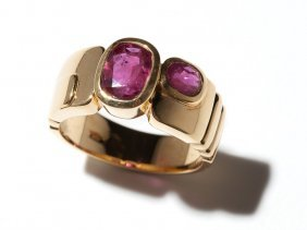 Geometric 18 Carat Yellow Gold Ring With Two Rubies