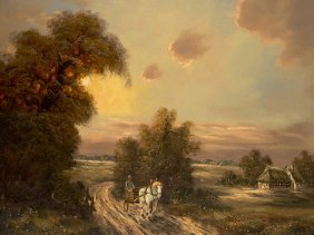 "A. Franke, Oil Painting ""on The Way Home"", Mid-20th"