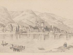 "Drawing ""boppard At The Rhein"", Germany, Around 1850"