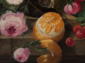 "Fine Oil Painting ""still Life With Fruits"", S. Klein,"