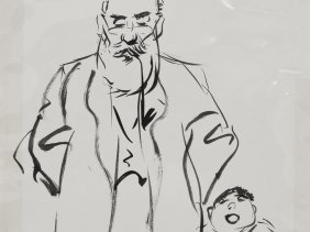 "Ink Drawing ""old Man With Grandson"", A. Paunzen, Around"