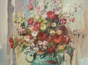 """Oil Painting """"flowers In A Jug"""", G. Frühmesser, Late"""