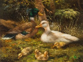 """Oil Painting """"ducks At A Brook"""", I. Sanee, Late 20th"""