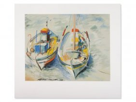 Matthias Schlüter, Watercolor, 'two Boats', Germany,