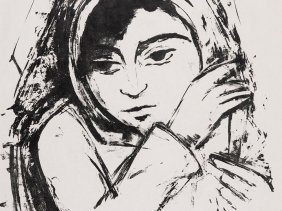 """Lithograph """"young Girl With Shawl, Ernst W. Nay, 1930"""