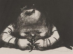 """Ink Lithograph """"sulky Girl"""", H.t. Richter, 1955"""