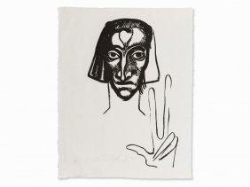 Ernst Fuchs, The Witness, Linocut, 1946