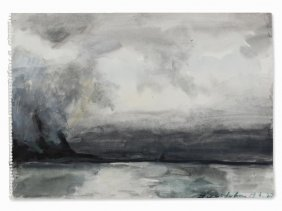 Klaus Fußmann (b. 1938), Lofoten, Watercolor, Norway,