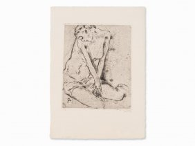 Willi Geiger, Kneeling Woman (small Version), Etching,