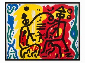 A.r. Penck, Figurative Composition, Color Serigraph,