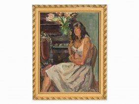 Vladimir Naiditch (1903-1980), Lisa Au Piano, Oil,