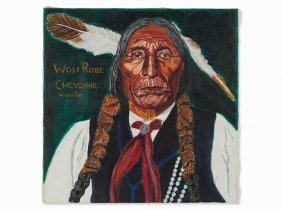 Ge Polo, 'wolf Robe Cheyenne Warrior', Oil Painting,