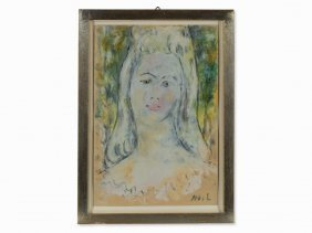 Mikhail Larionov (1881-1964), Portrait Study, Gouache,