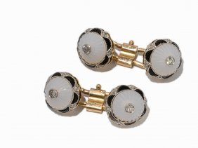 A Pair Of Cufflinks With Rock Crystals, 18k Gold