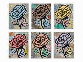 D. Baechler, Rose (portfolio Of 6), Serigraph In
