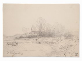 Julius Bayer, Landscape Near Salzburg, Pencil Drawing,