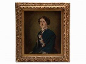 Oil Painting, Portrait Of Fanny Hilpert, Germany, 1852