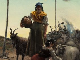 José Oliva Rodrigo (c. 1855-?), Two Shepherdesses, Oil,