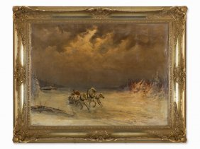 Alexandroff, Painting, Winterscape With Russian Troika,