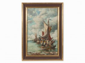 Karl Kaufmann, Oil Painting, Sailboat With Harbor View,