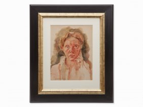 Charlotte Berend-corinth, Watercolor, Self Portrait,
