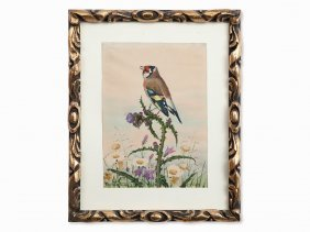 Goldfinch On A Thistle, Watercolor, Germany, 1926