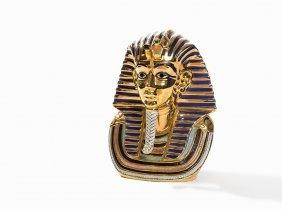 Gilded Porcelain Bust Of Tutankhamun, Italy, 1970s