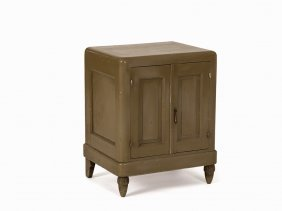 André Groult, Greenish Lacquered Bedside Cabinet, 1920s