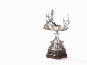 Silver Centerpiece With Britannia And Hermes, London,