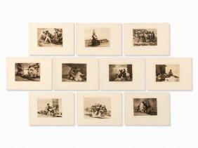 Francisco De Goya, 10 Etchings From 'los Desastres',