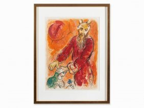 Marc Chagall, Color Lithograph, Moses And Joshua, 1966