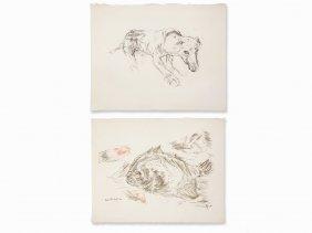 Oskar Kokoschka, 2 Figural Compositions, Lithographs,
