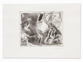 Alfred Hrdlicka, Etching, 'flagellation', Vienna, 1992