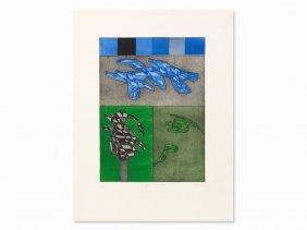 Achille Perilli, Il Gran Calmucco, Aquatint In Colors,