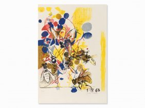 Graham Sutherland, Bees, Lithograph In Colors, 1963