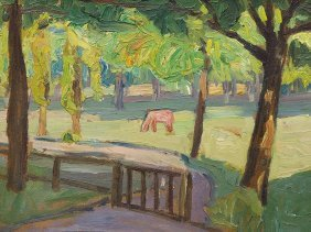 Carl Jrres, Oil Painting, Grazing Horse, Lilienthal,
