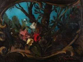 """Painting """"still Life With Flowers"""" By Franz X. Kosler,"""