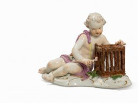 Meissen, Porcelain Figure Of A Putto With Birdcage, C.