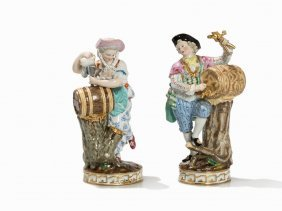 Meissen, A Winemaker & His Wife With Wine Casks, 19th