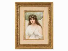 Kpm, Porcelain Plaque With The Personification Of Ivy,