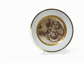 Kpm, Large Plate 'konisch' With Europa Riding The Bull,