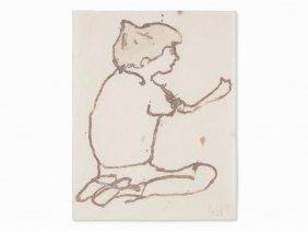 Donald Baechler (b. 1956), Kneeling Boy, Watercolor,