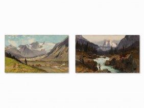 Karl Heffner (1849-1925), Pair Of Alpine Landscapes,