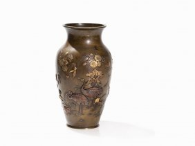 Bronze Baluster-shaped Vase Shibuichi Metal Inlays