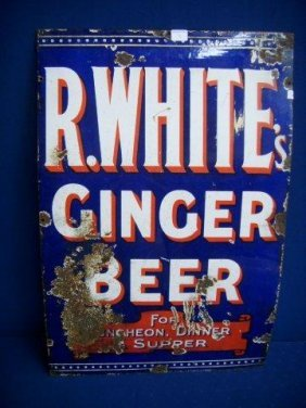 An R. White's Ginger Beer Rectangular Enamel Sign, 2