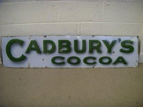 A Pair Of Cadbury's Cocoa And Chocolate  Enamel Sig