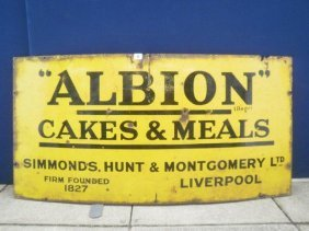 An Albion Cakes And Meals Rectangular Enamel Sign,
